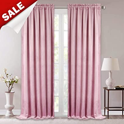 Amazoncom Stangh Pink Velvet Curtains For Bedroom Romantic Home