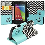 Coolpad Rogue Case, Coolpad Rogue Wallet Case, SOGA® [Pocketbook Series] PU Leather Magnetic Flip Design Wallet Case for Coolpad Rogue 3320A (T-Mobile) - Teal Chevron Anchor Love