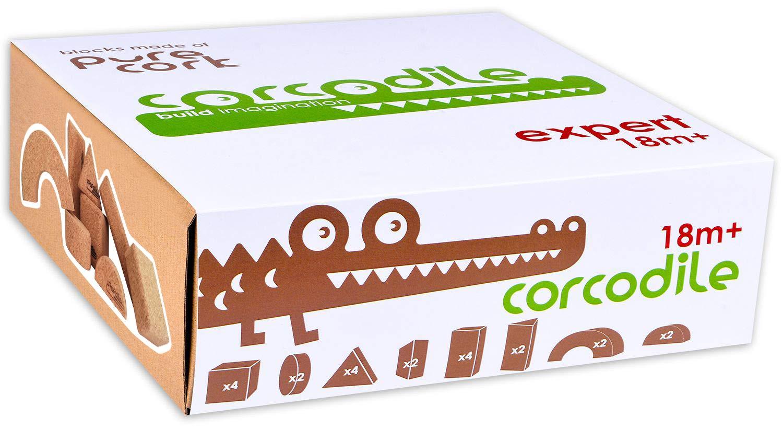 Corcodile Kork Bauklötze Holz Baby ab 1 Jahr, Nachhaltige Bausteine für Kinder, 20 Teile