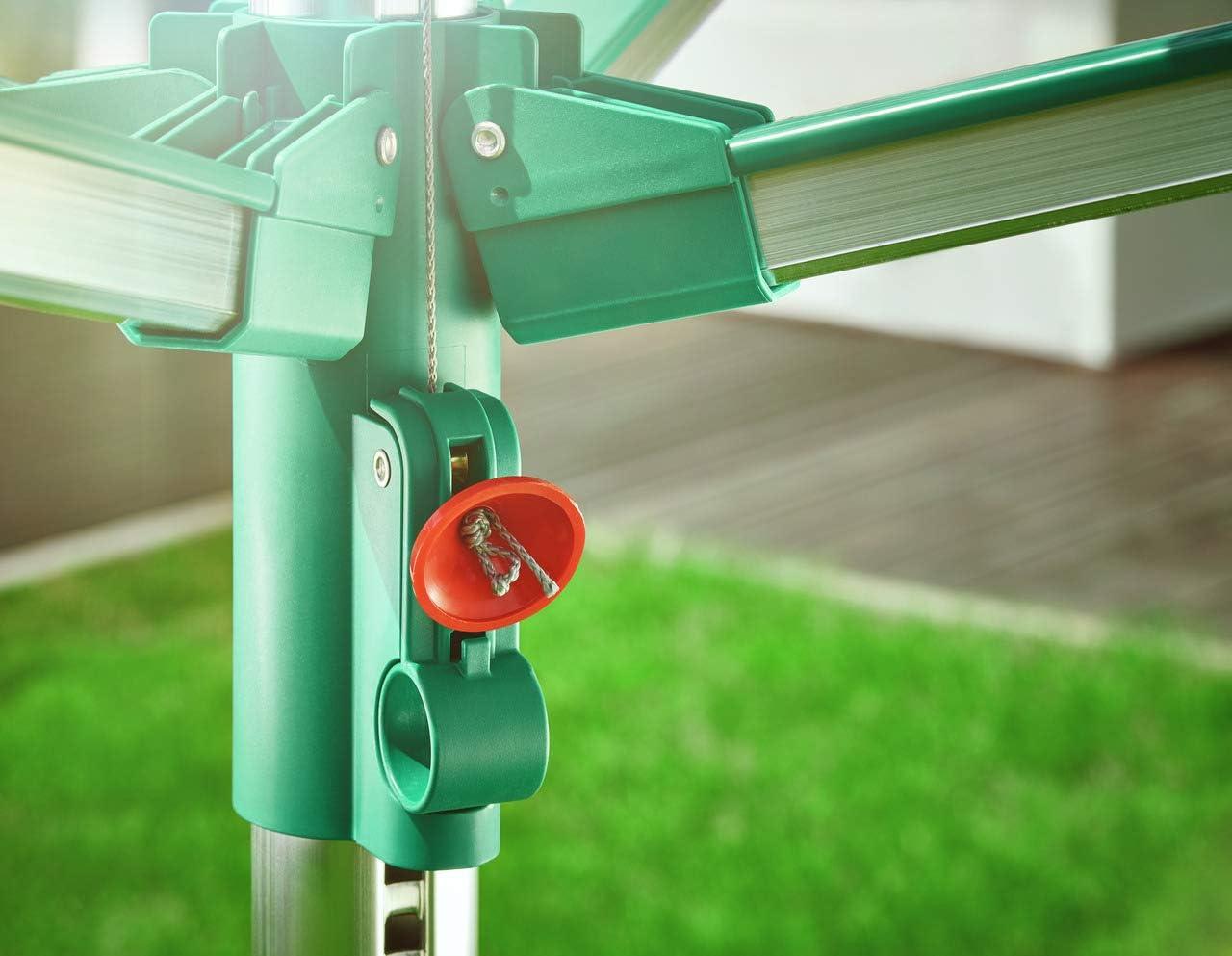 231x16.5x16.5 cm Leifheit Linomatic 500 Comfort Tendedero Verde Met/álico
