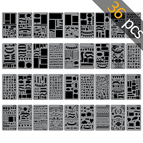 Biubee 36 pcs Bullet Journal Stencils Over 1500 Different Patterns - 4'' x 7'' Plastic Planner Stencils Drawing Templates Set for Notebook, Diary, Scrapbook DIY by Biubee