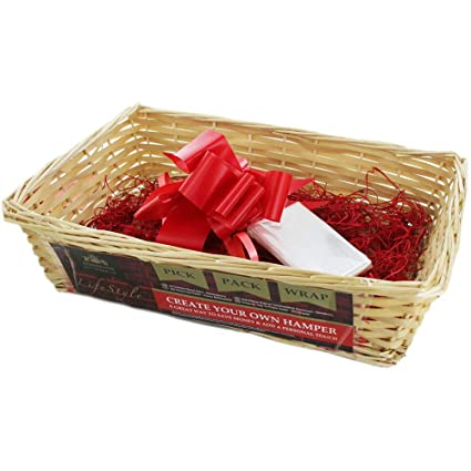 Large Christmas Hamper Wicker Basket Kit Set Handles Gift Box Make Your Own DIY