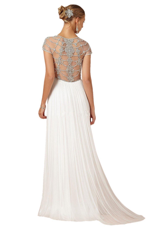 Vestido de novia, de manga corta, espalda con bordado, líneas curvas, de gasa, para la playa, de Engerla: Amazon.es: Ropa y accesorios