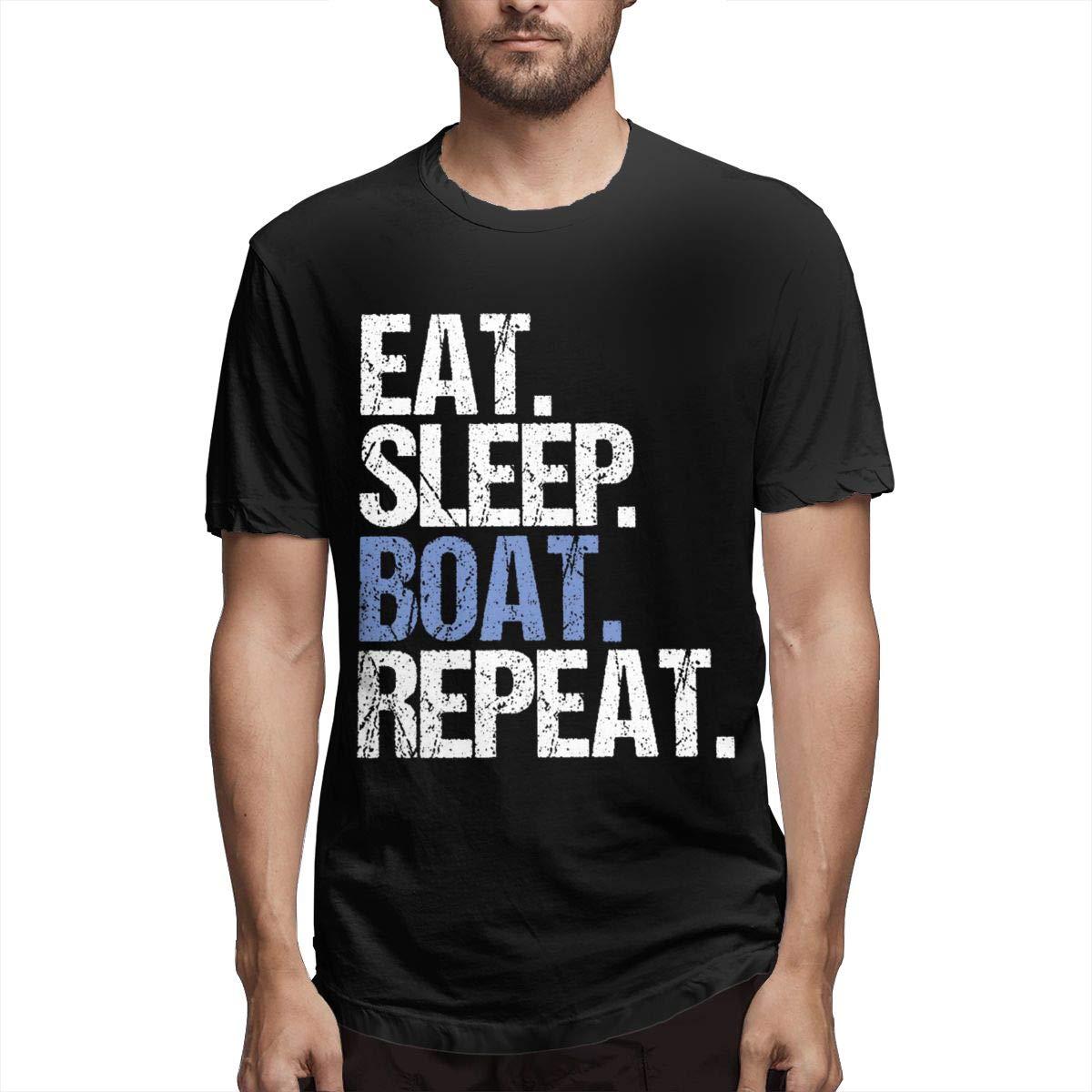 Marsherun Men Eat Sleep Boat Repeat Casual Short Sleeve T-Shirt