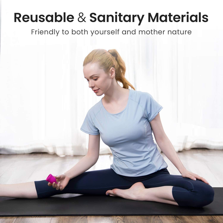 Coupe Menstruelle Coupe Menstruelle en Silicone de Qualit/é M/édicale Petit+Gros Trouvez votre Ajustement Parfait Meilleure Alternative aux Tampons et Pansements en Tissu -