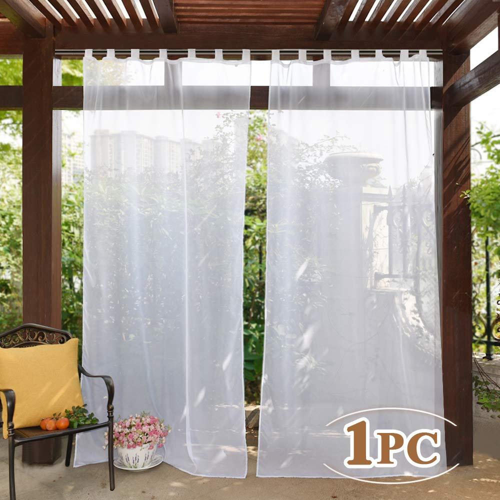 PONY DANCE Outdoor Vorhang Transparent 1er Set H 213 x B 137cm Stores Gardinen Wei/ß Voile Vorh/änge f/ür Wohnzmmer /& Balkont/ür Gardine