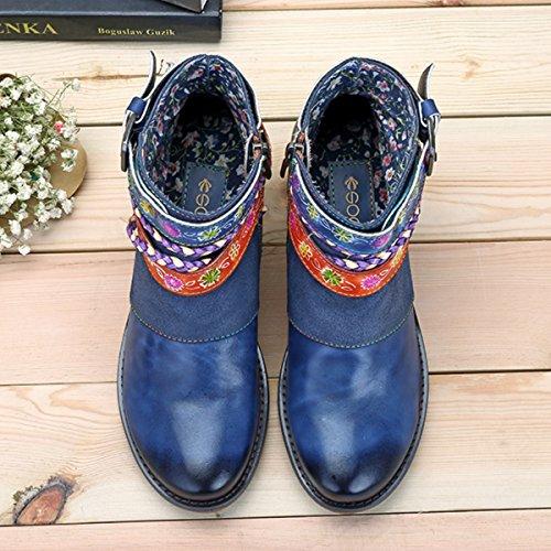 Socofy Damen Kurzschaft Stiefel, Blume Boots Klassische Ankle Boot Kurz Stiefel Handmade Anit-Rutsch Komfort Lederschuhe Blau-A