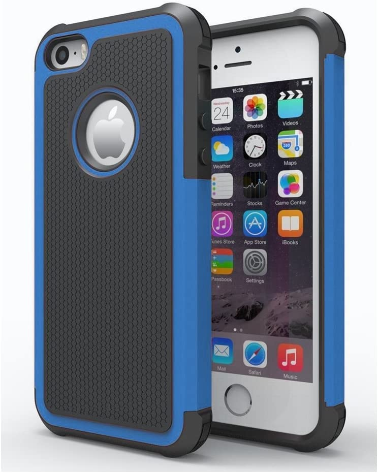 AGRIGLE Shock- Absorption/High Impact Resistant Hybrid Dual Layer Armor Defender Full Body Protective Cover Case Compatible with iPhone 5/5S/SE(2016)(Blue)