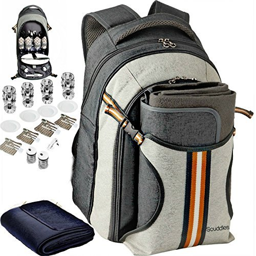 (Scuddles 4 Person Picnic Backpack - With SOLID Stainless Steel Utensils, Oversized Water Resistant Fleece Blanket, Cooler Compartment, Holders Wine Bottles in a Modern Designed Backpack)