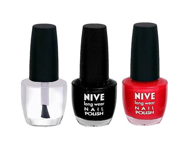 Buy Red, Transparent Nail Polish, Black Nail Polish Combo By NIVE ...