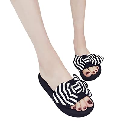 0757ee867a8b TOTOD Women Fashion Casual Bow Summer Sandals Slipper Indoor Outdoor Flip-flops  Beach Shoes ...
