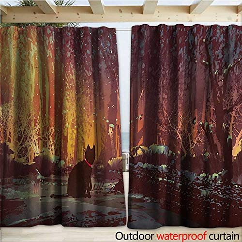 - warmfamily Fantasy Home Patio Outdoor Curtain Surreal Lost Black Cat Deep Dark in Forest with Mystic Picture Artwork Print W120 x L108 Orange Brown