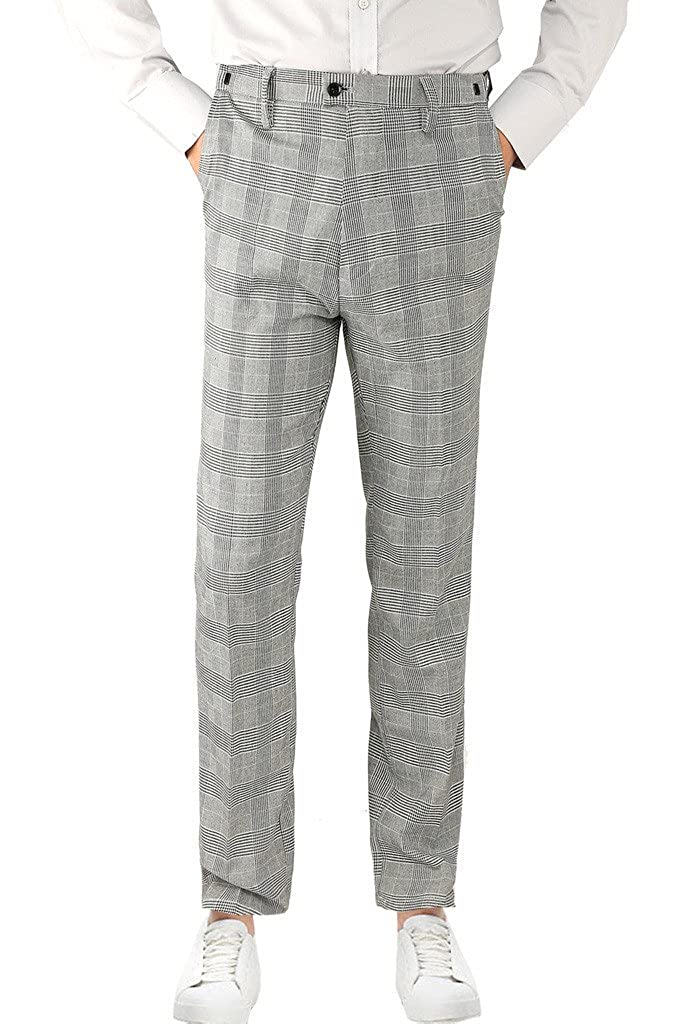 Hanayome Men's Formal Clothes Houndstooth Financial Business Office Suit Pants Trousers SIH10-K-A1