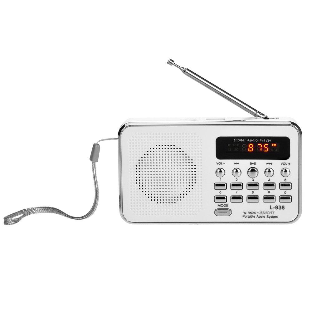 Docooler Mini FM Radio Altoparlante Digitale Portatile da 3 W Altoparlante MP3 Lettore Audio ad Alta fedelt/à qualit/à w//Schermo da 1,5 Pollici Supporto unit/à USB TF Scheda MMC AUX-in Uscita Cuffia