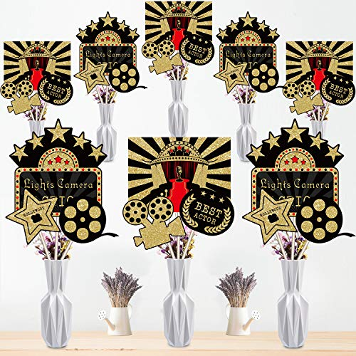 Blulu 24 Pieces Red Carpet Hollywood Centerpiece Sticks for Movie Theme Party-Table Toppers Movie Night Birthday Party Decoration Baby Shower Birthday Party