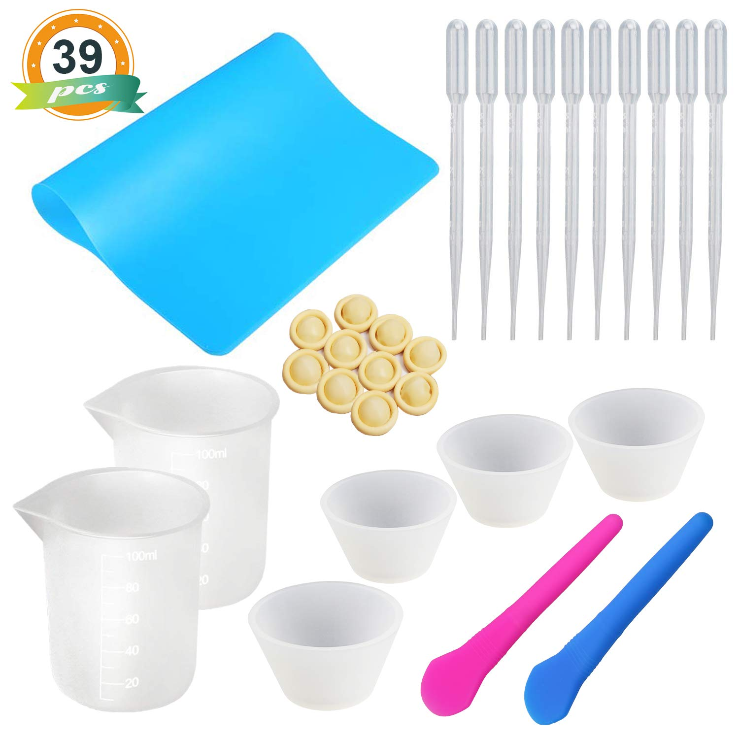Silicone Mixing Cups for Resin LET'S RESIN Silicone Measuring Cups 100ml, Epoxy Resin Mixing Cups with Silicone Mat, 2PCS Silicone Stir Stick, 10 PCS Plastic Transfer Pipettes, 20PCS Finger Cots by LET'S RESIN