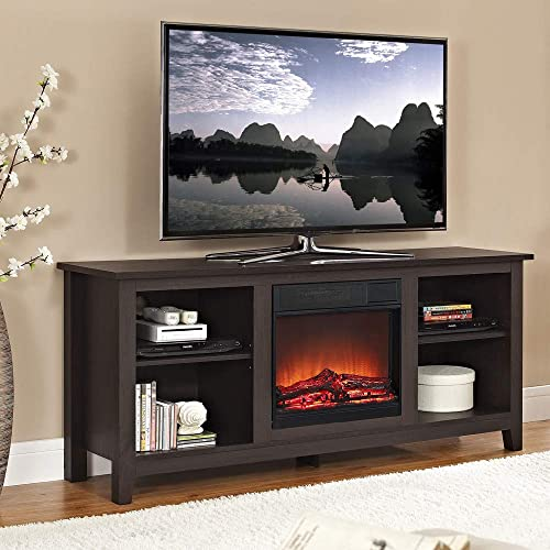 Walker Edison W58FP18ES Fireplace TV Stand, Espresso, 58