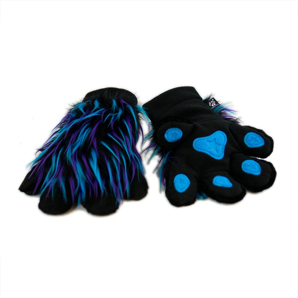 Pawstar Paw Mitts Party Furry Animal Hand Paws Costume Gloves Adults - Twilight
