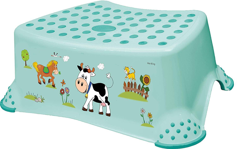 Premium Tritthocker stabiler Hocker Funny Farm aquamarin f/ür Kinder mit Anti-Rutsch-Funktion