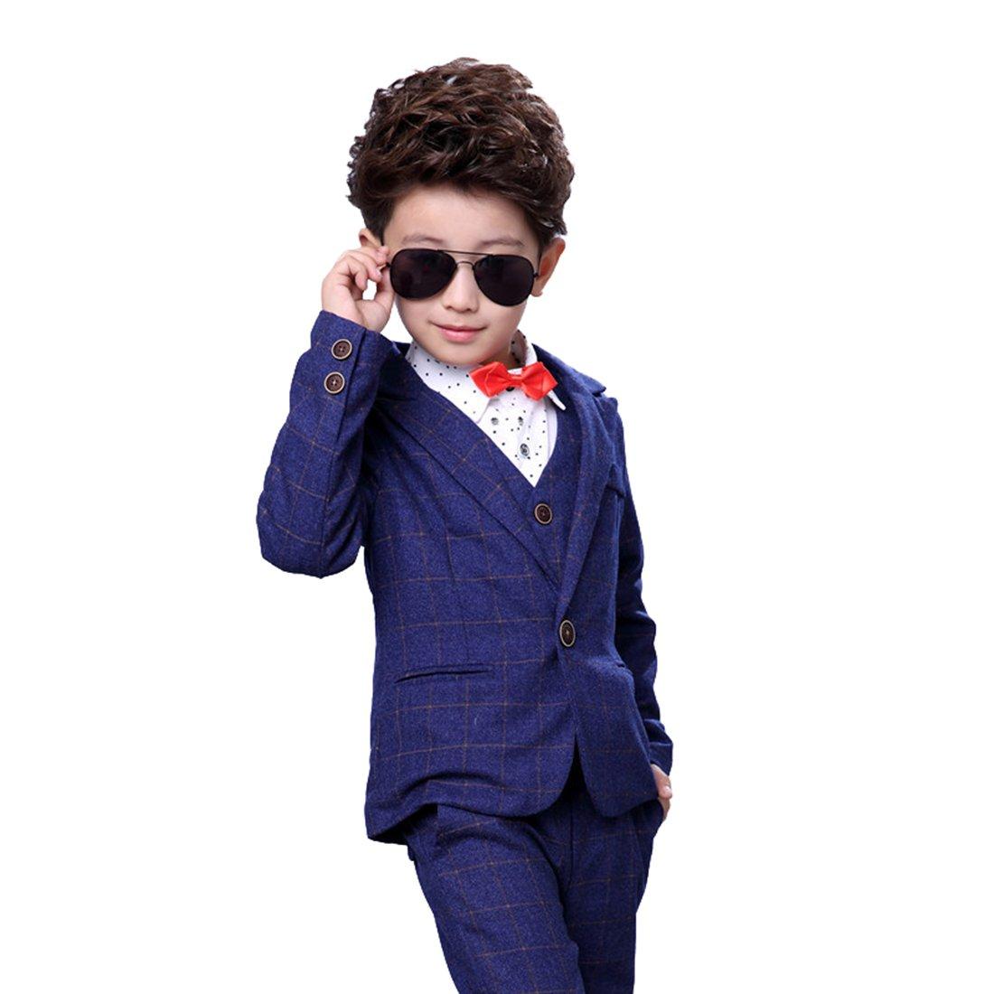 Gele Boy 4 Pieces Fashion Formal Suit,Bow Tie+Vest+Pants+Blazer (6, Navy)