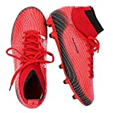 ALEADER Youth/Kids Athletic Football Trainer Soccers Shoes Cleats Boots for Fild Training Red/Black 6 M US Big Kid