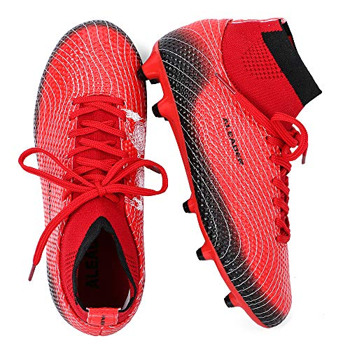 ALEADER Youth/Kids Athletic Football Trainer Soccers Shoes Cleats Boots for Fild Training Red/Black 2 M US Little Kid