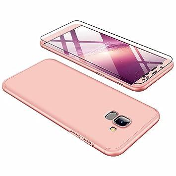 Funda Samsung Galaxy J6 2018, Carcasa Samsung Galaxy J6 2018 con [ Cristal Templado] 3 en 1 Desmontable 360 Grados Anti-Arañazos Protectora Caso, Oro ...
