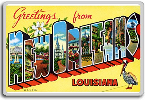 - Greetings From New Orleans - Vintage 1940s Postcard fridge magnet