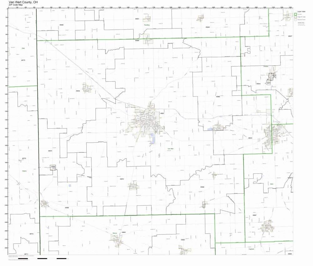 Amazon Com Van Wert County Ohio Oh Zip Code Map Not Laminated