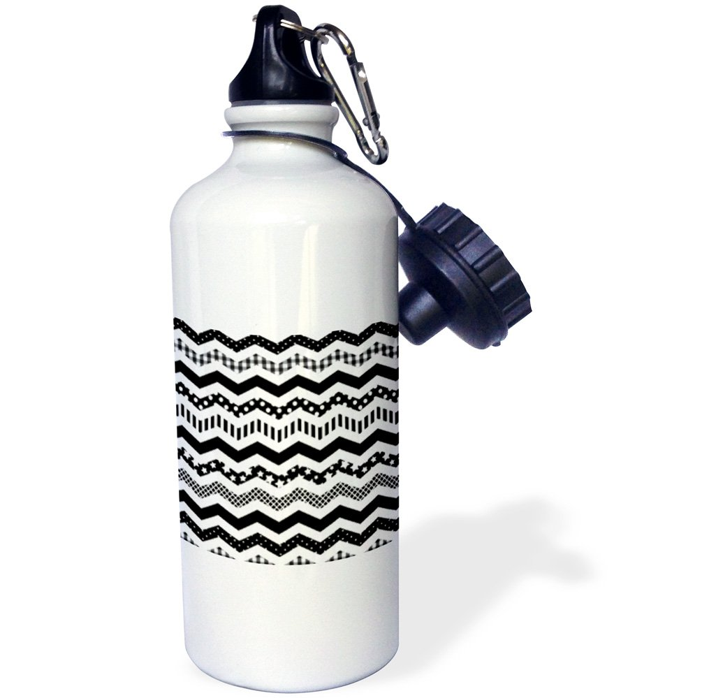 wb/_183982/_1 21oz 3dRose Black and White Chevron Zigzag Twist Patterned Zig Zags-Sports Water Bottle Multicolored