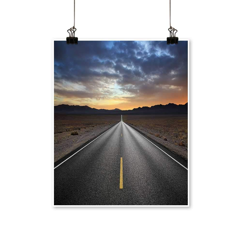 Office Decorations Desert Highway and Mountains at Sunset,Death Valley National Park,California -Abstract Art Painting,28''W x 52''L/1pc(Frameless) by painting-home