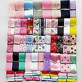 Chenkou Craft 55Yards Assorted Sizes Colors Styles Organza Ribbon Polyestor Ribbon Grosgrain Ribbon Ribbons Mix Lots Bulk