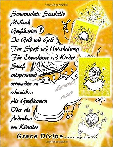 Sonnenschein Seashells Malbuch Grußkarten In Gold und Gelb Für Spaß und Unterhaltung Für Erwachsene und Kinder Spaß entspannend verwenden zu schmücken ... Oder als Andenken von Künstler Grace Divine