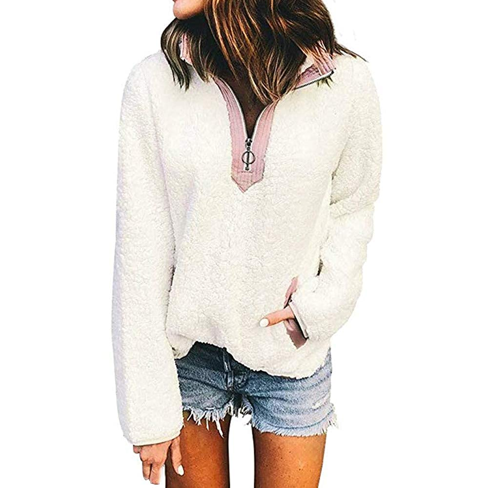 Clearance ❤ Women Coat JJLIKER Fashion Casual Loose Pocket Zipper Solid Long Sleeve Daily Top Blouse Jacket Outwear