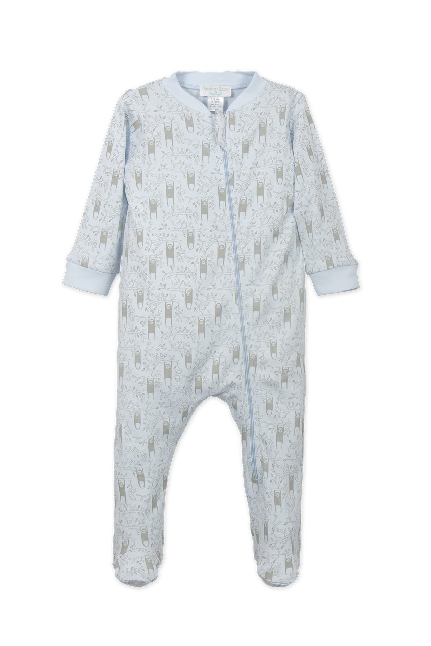 Feather Baby Boys Clothes Pima Cotton Long Sleeve Zipper Sleep 'N Play Footie Coverall Romper, 3-6 Months, Sloth-Grey on Baby Blue