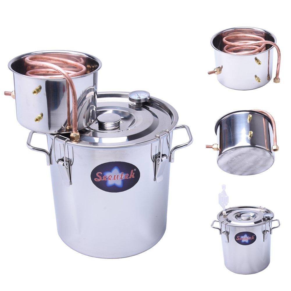 Seeutek 5 Gal 18 Litres Home Alcohol Water Distiller Copper Moonshine Still Kit Stainless Steel Spirits Boiler by Seeutek (Image #1)