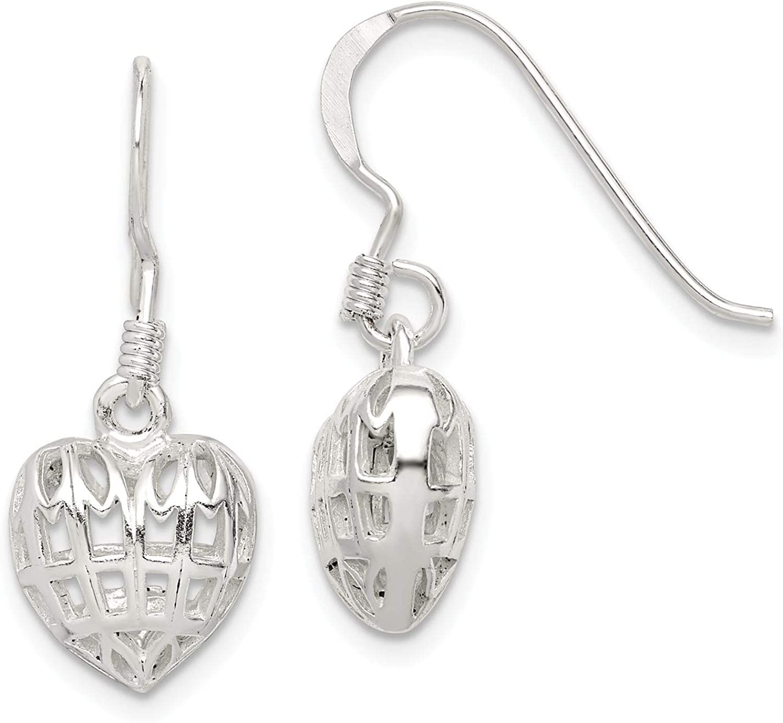 925 Sterling Silver Polished Filigree Heart Dangle Earrings