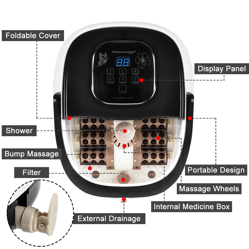 Natsukage All in One Luxurious Foot Spa Bath Massager Motorized Rolling Massage Heat Wave Digital Temperature Control LED Display Fast US Shipping (Type 3) by Natsukage (Image #2)