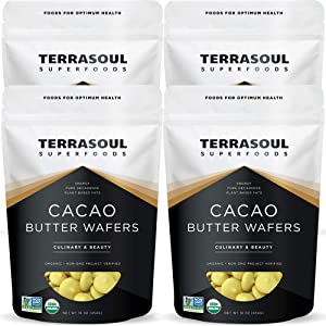 Terrasoul Superfoods Organic Cacao Butter Wafers, 4 Lbs (4 Pack) - Raw | Keto | Vegan | Unrefined