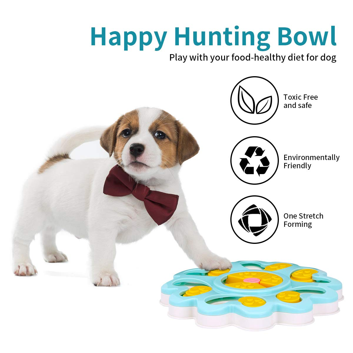 XUANRUS Puppy Treat Dispenser Dog Toys-Plastic Dog Food Puzzle Toys Bowl with Non-Slip/Increase IQ/Interactive Slow Dispensing Feeding Pet Dog Training Games Feeder for Mini Dog Puppies