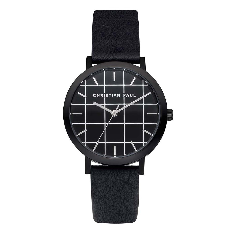 Christian Paul grl-01 Herren Edelstahl schwarz Leder Band Schwarz Zifferblatt Armbanduhr