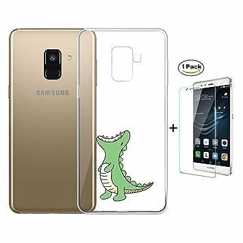 3c785f54d50 Funda Samsung Galaxy A6 2018 Caso Fanxwu TPU Cover Ultra Delgada Claro  Silicona Gel Cover [Protector de Pantalla de Vidrio Templado] Anti-Arañazos  Bumper ...