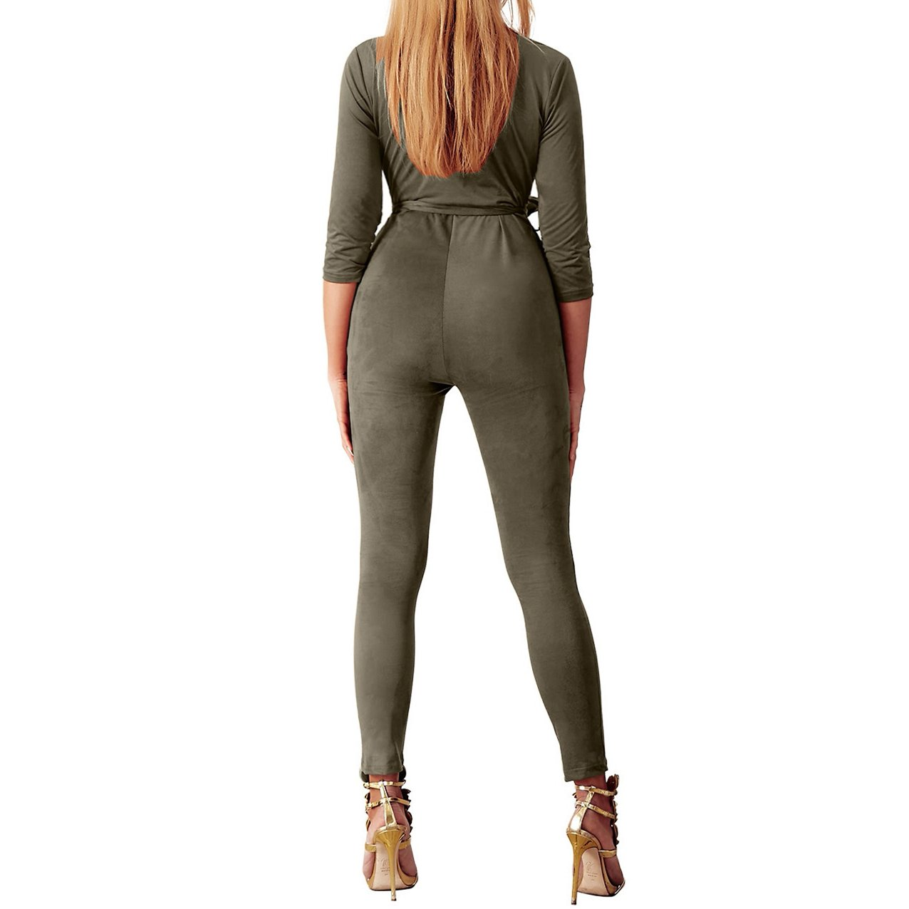 9c9d5bb5af1 Amazon.com  Yizenge Women s Sexy Suede Deep V-Neck 3 4 Sleeve Party  Clubwear Romper Jumpsuit  Clothing