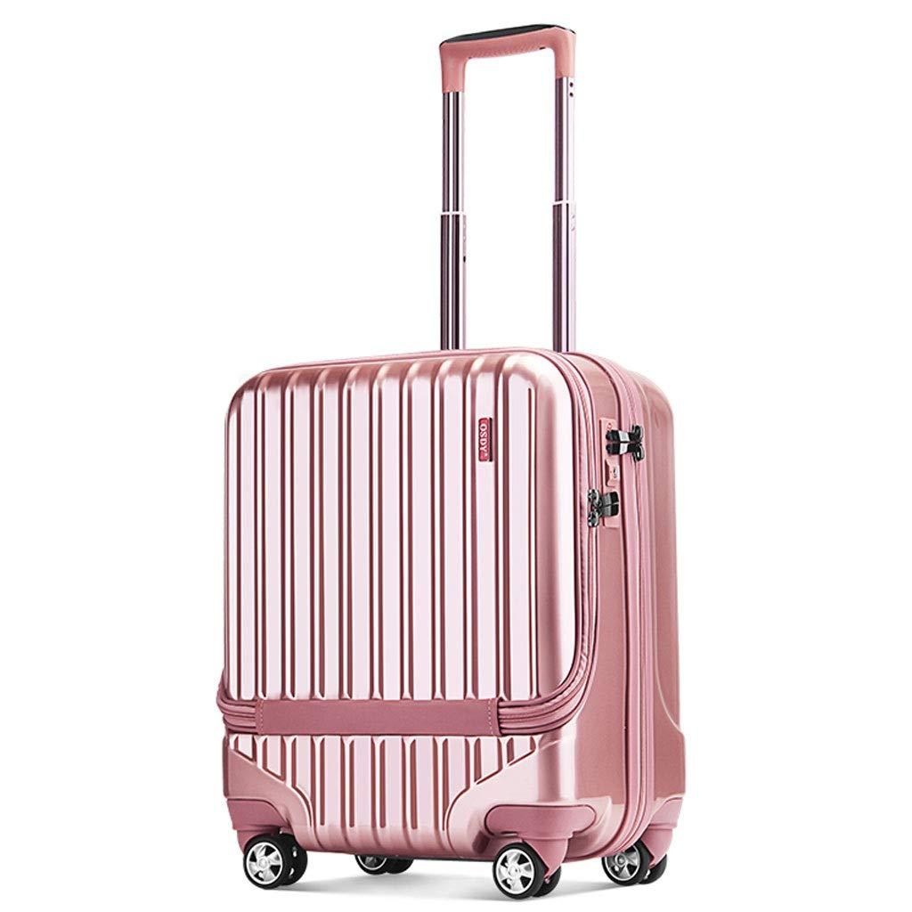 ZXXZ トロリーケース- 男性および女性のビジネス携帯用トロリー箱コンピュータ箱、学生19インチの小型スーツケース (Color : Pink, Size : 19in) B07V72Y97Y Pink 19in