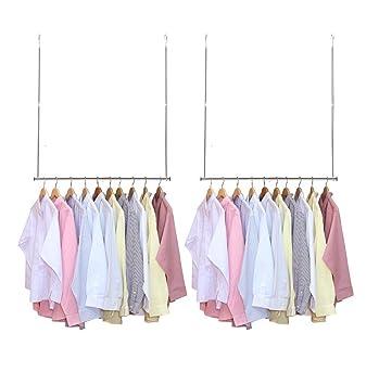 StorageManiac Pack de 2 Barras para armarios Ajustables Colgantes, Organizadores de Perchas con Varillas horizontales, Croma
