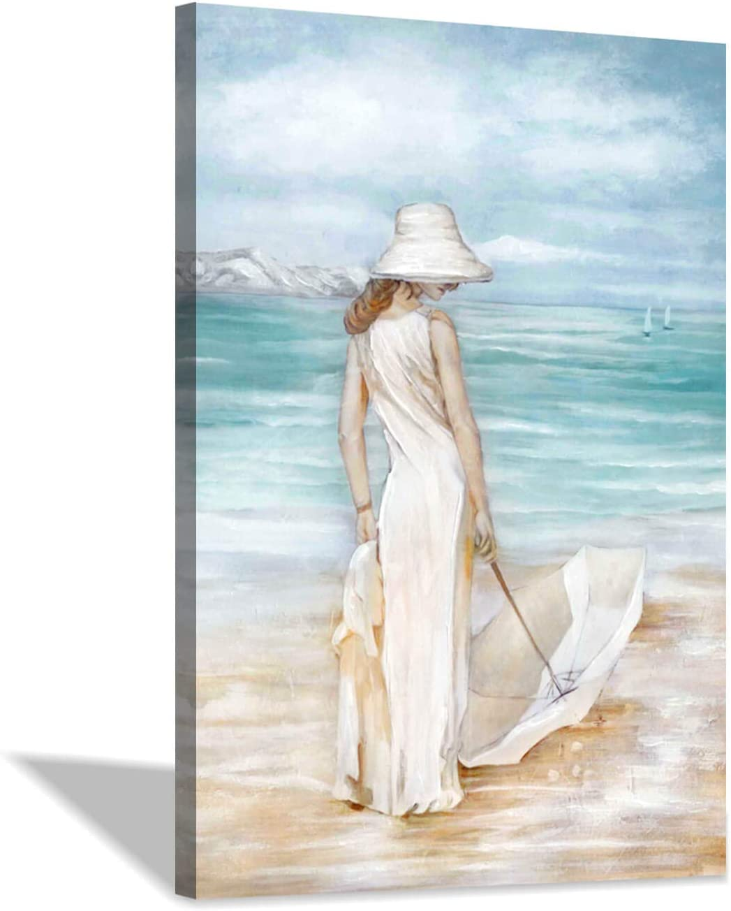 """Abstract Beach & Girl Artwork Picture: Blue Seascape Painting Coastal Wall Art on Canvas for Living Room (24"""" x 36"""" x 1 Panel)"""