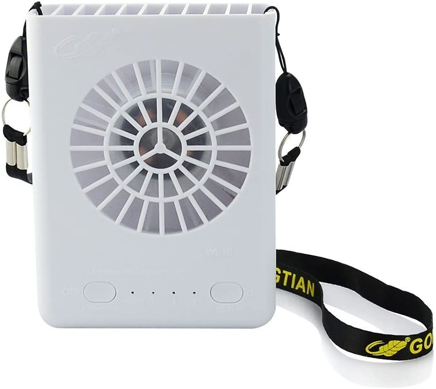 GONGTIAN USB Mini Fan, Portable 4 Inch USB Fan Hands-Free Hanging Fan Powered by Rechargeable Battery with 3-Level Speed for Outdoor Like Running Camping Hiking (White)