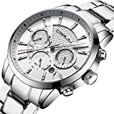 CRRJU Elegant Business Date Watches for Men,Chronograph Sports Analog Quartz Watches with Stainless Steel Band