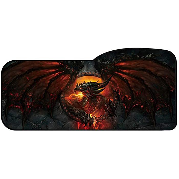 Professional Gaming Mouse Pad Curved Extended Size Large Computer Laptop Keyboard Desk Mat Waterproof Mousepad with Stitched Edges Anti Slip Rubber Base for School Office Home (Guardian Dragon)