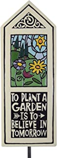 product image for Modern Artisans Ceramic Tile Garden Stake with 'to Plant a Garden is to Believe in Tomorrow' Quote, American Made